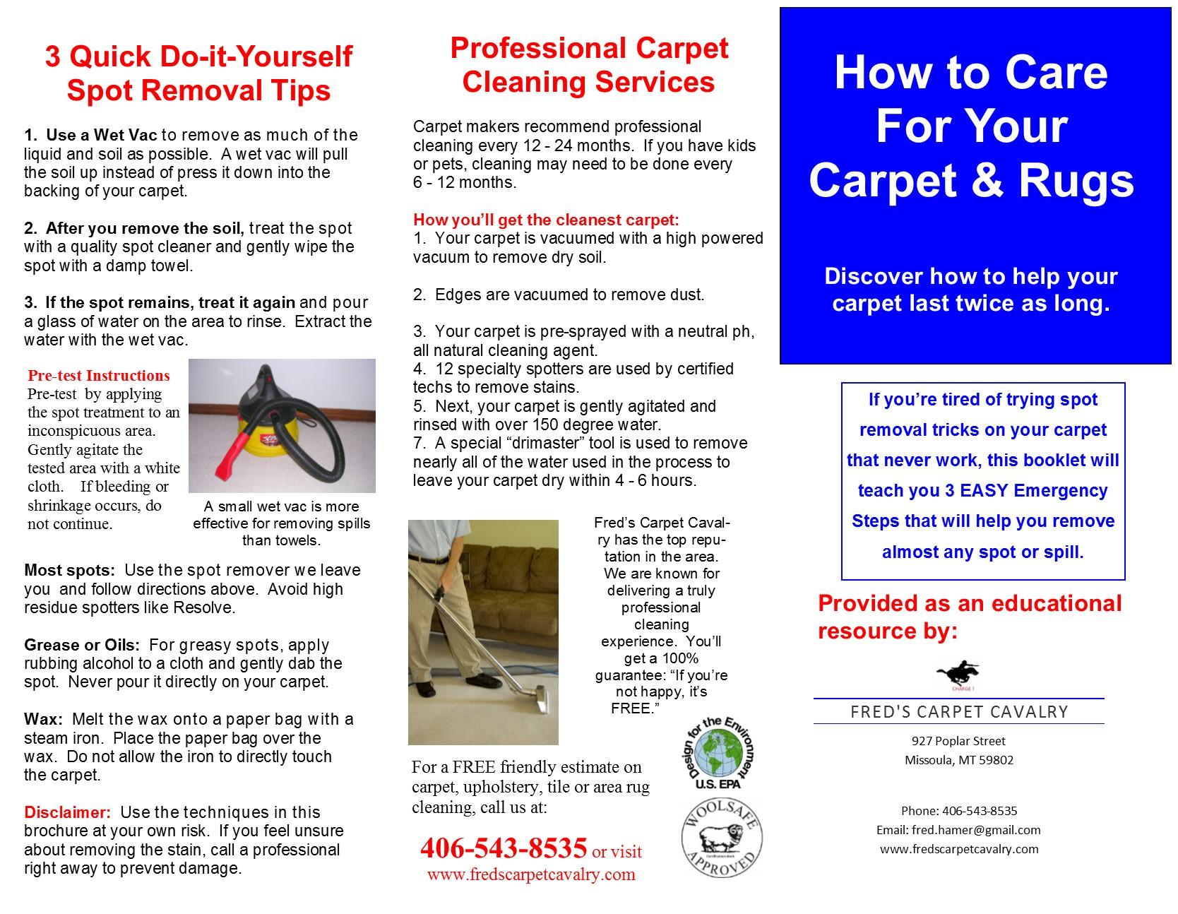How to care for your carpet rugs carpet cleaning in missoula carpet rug cleaning tips for missoula mt publication3 brochure8142013 solutioingenieria Images